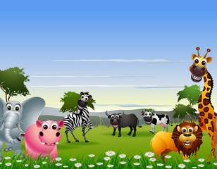 funny animal cartoon with nature background