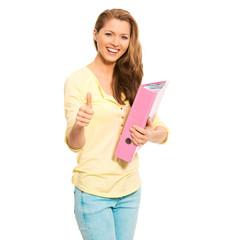 Studentin mit Mappe