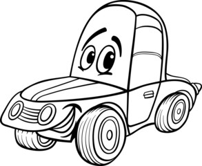 car cartoon illustration for coloring book
