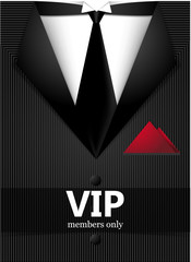 Black suit with vip sticker