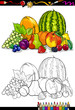 fruits group illustration for coloring book
