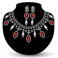 necklace with her wedding with red precious stones