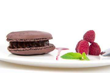 macaron chocolat et framboises