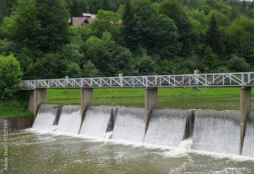 dam on Wisloka river in Krempna near Jaslo