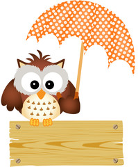 Owl on wooden sign with umbrella