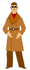 retro man in fur trimed overcoat