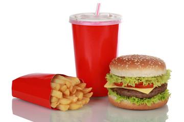 Cheeseburger Menü isoliert