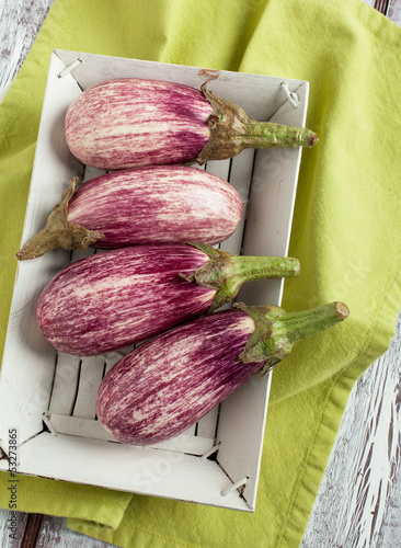 Stripped eggplants