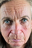 Old wrinkled woman closeup