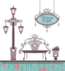 Illustration in vintage style with items of garden design.