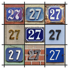 Collage of House Numbers Twenty-seven