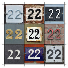 Collage of House Numbers Twenty-two