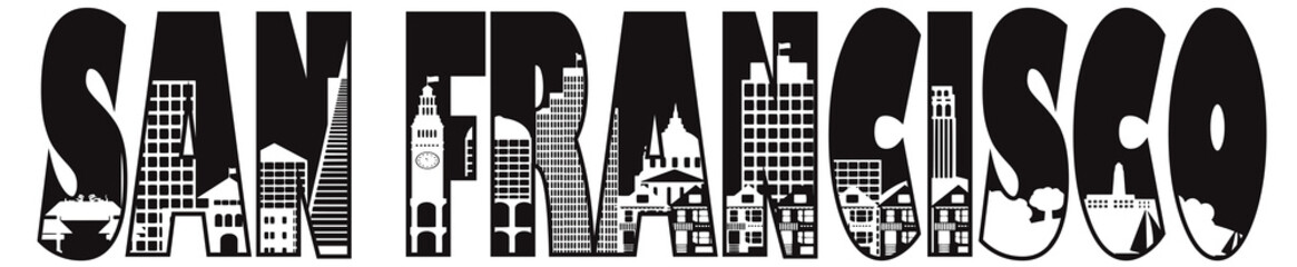 San Francisco City Text Outline Illustration