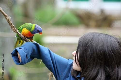 Girl and rainbow lorikeet