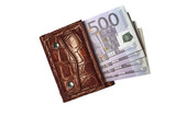 Isolated leather brown purse euro money four