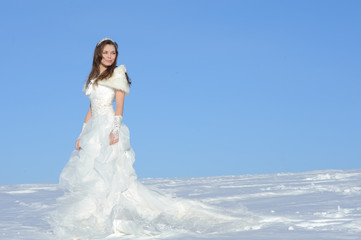 woman posing in wedding dress