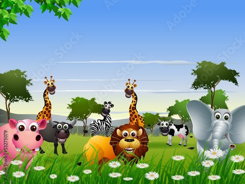 funny animal cartoon collection with nature background