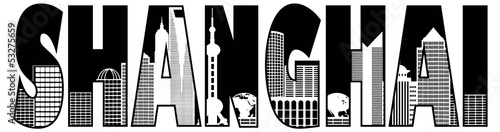 Shanghai City Skyline Outline Text Illustration