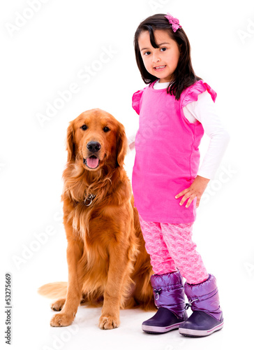 Girl with a beautiful dog