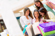 Group of shopping girls