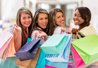 Happy group of female shoppers