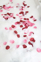 Bath water with rose petals