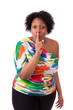 Young fatty black woman making silence gesture - African people