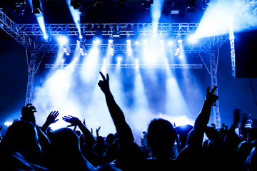 Jubelnde Konzertbesucher auf Rock-Konzert