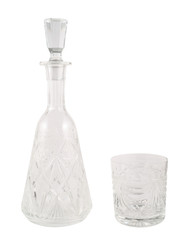 Crystal glass decanter vessel with tumbler isolated