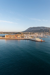 Alicante Denia port marina and Mongo in mediterranean sea of Spa