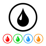 Blood Drop Icon Vector with Four Color Variations