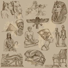 Egyptian collection - hand drawings into vector set