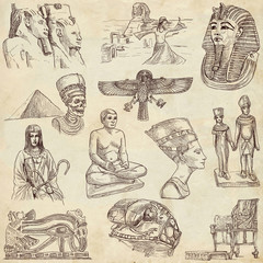 Egyptian collection - full sized hand drawings on old paper
