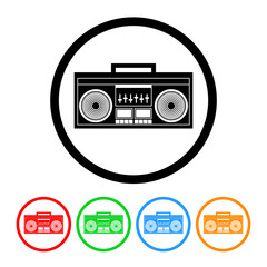 Boombox Radio Icon Vector with Four Color Variations