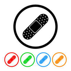 Bandage Icon Vector with Four Color Variations