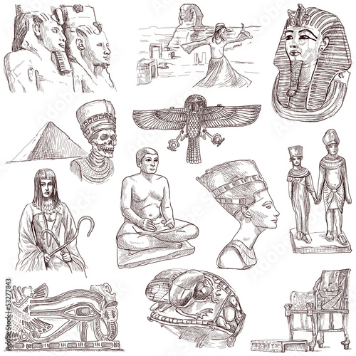 Egyptian collection - full sized hand drawings on white