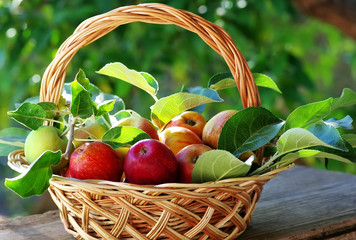 Basket of apples on table