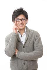 眼鏡を掛けた男性 笑顔
