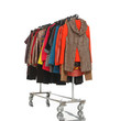 female clothes Variety of hanging on clothes rack