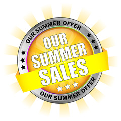 Icon Button Our Summer Sales with Sun Background