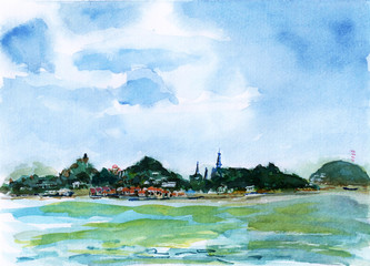 xiamen gulangyu island watercolor