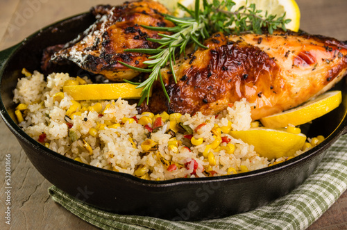 Lemon chicken with rice and roasted corn