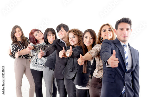 Group of hispanic business people  with thumbs up