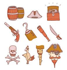 Cartoon pirate objects set