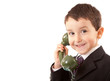 Small Boy Talking/Listening On Old Style Telephone.