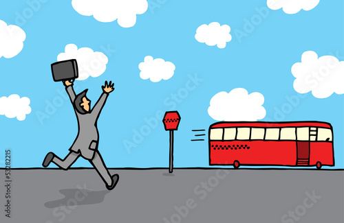 Businessman chasing a bus