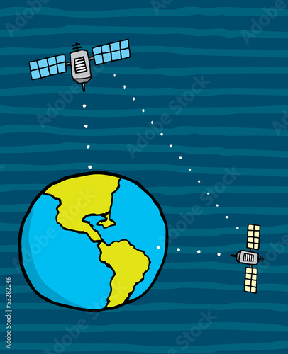 Satellite connecting earth