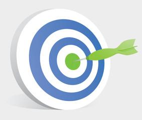 Dart hitting center of a target / Bullseye