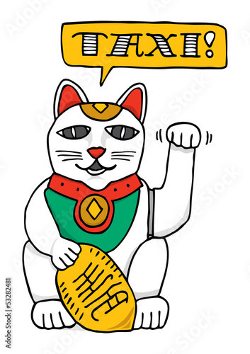 Fortune cat calling a cab