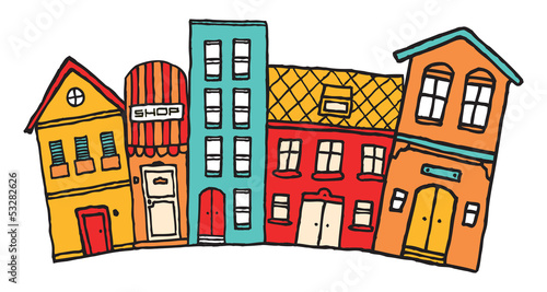 Small cartoon town / Cute colorful neighborhood